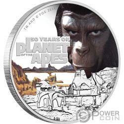 PLANET OF THE APES 50. Jahrestag 1 Oz Silber Münze 1$ Tuvalu 2018