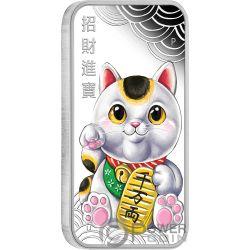 LUCKY CAT Gato Suerte Maneki Neko 1 Oz Moneda Plata 1$ Tuvalu 2018