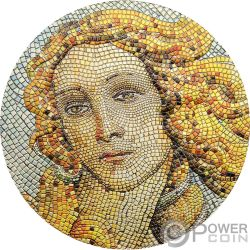 BIRTH OF VENUS Geburt von Botticelli Great Micromosaic Passion 3 Oz Silber Münze 20$ Palau 2017