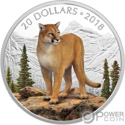 COURAGEOUS COUGAR Majestic Wildlife 1 Oz Silver Coin 20$ Canada 2018