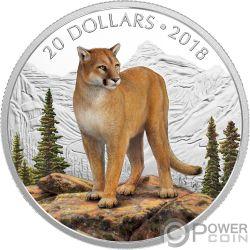 COURAGEOUS COUGAR Puma Majestic Wildlife 1 Oz Moneda Plata 20$ Canada 2018
