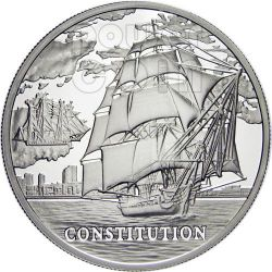 USS CONSTITUTION Sailing Ship Moneda Plata Hologram Belarus 2010