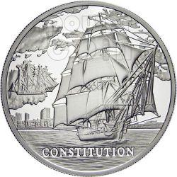 USS CONSTITUTION Sailing Ship Серебро Монета Hologram Белоруссия 2010