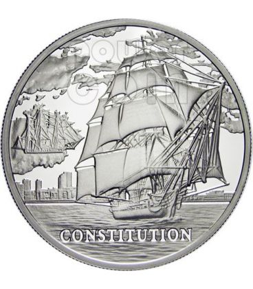 USS CONSTITUTION Nave Moneta Argento Ologramma Bielorussia 2010
