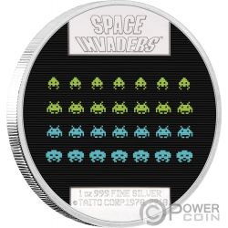 SPACE INVADERS 40 Anniversario 1 Oz Moneta Argento 2$ Niue 2018