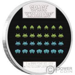 SPACE INVADERS 40th Anniversary 1 Oz Серебро Монета 2$ Ниуэ 2018