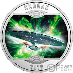 ENTERPRISE D Star Trek Next Generation Moneda Plata 10$ Canada 2018