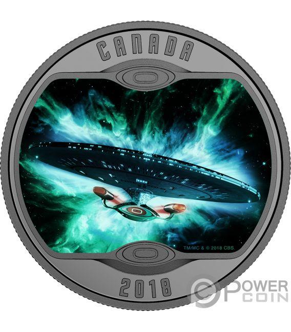 ENTERPRISE D Star Trek Next Generation Moneda Plata 10$ Canada 2018