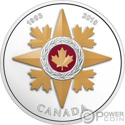 STAR OF MILITARY VALOUR 25th Anniversary 1 Oz Silver Coin 20$ Canada 2018