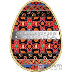UKRAINIAN PYSANKA Pasqua Golden Spring Forma Uovo Arte Popolare 1 Oz Moneta Argento 20$ Canada 2018