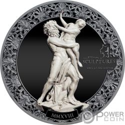 RAPE OF PROSERPINA Eternal Sculptures Ratto 2 Oz Moneta Argento 10$ Palau 2018
