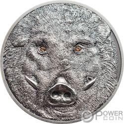 WILD BOAR Sus Scrofa Wildlife Protection 1 Oz Серебро Монета 500 Тугриков Монголия 2018