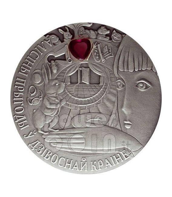 ALICE NEL PAESE DELLE MERAVIGLIE Moneta Argento Zircone Bielorussia 2007