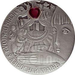 ALICE IN WONDERLAND Fairy Tale Silver Coin Zircon Belarus 2007