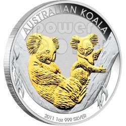 KOALA Gilded Australian 1 Oz Silver Coin 1$ Australia 2011