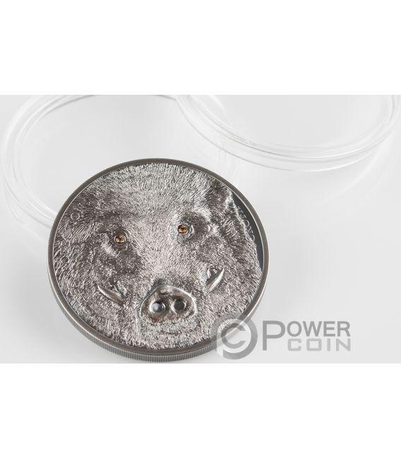 WILD BOAR Sus Scrofa Wildlife Protection 1 Oz Silver Coin 500 Togrog Mongolia 2018