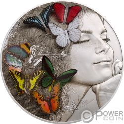 DREAM EDITION Mariposa Sueno 3D Exotic Butterflies 5 Oz Moneda Plata 20$ Palau 2018