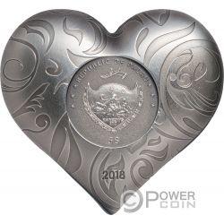 SILVER HEART Cuore Forma 1 Oz Moneta Argento 5$ Palau 2018