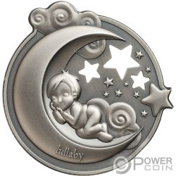 LULLABY Wiegenlied Träumender Junge Dreaming Boy 1 Oz Silber Münze 5$ Cook Islands 2018