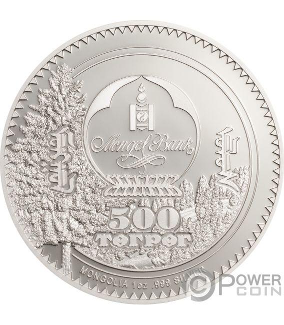 500 Oz Silvers: FOX Woodland Spirit 1 Oz Silver Coin 500 Togrog Mongolia
