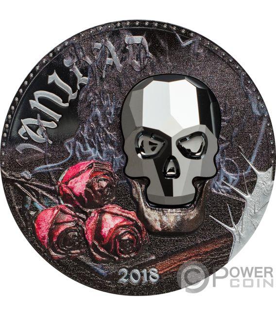 VANITY Vanidad Crystal Skull 1 Oz Moneda Plata 1000 Francos Equatorial Guinea 2018
