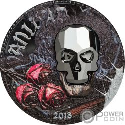 VANITY Vanita Crystal Skull 1 Oz Moneta Argento 1000 Franchi Equatorial Guinea 2018