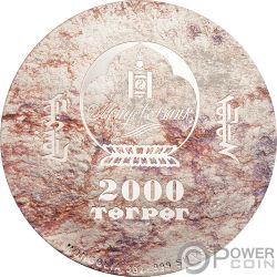 VELOCIRAPTOR Prehistoric Beasts 3 Oz Moneda Plata 2000 Togrog Mongolia 2018