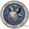 SEA TURTLE Tartaruga Marina Underwater World 3 Oz Moneta Argento 5$ Barbados 2018