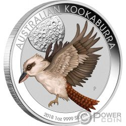 KOOKABURRA Farbig World Money Fair WMF 1 Oz Silber Münze 1$ Australia 2018