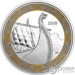 DRAGON SAIL Vela Drago Norse Figureheads 1 Oz Moneta Argento 20$ Canada 2018