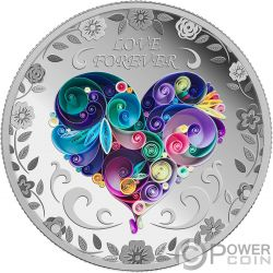LOVE FOREVER Amore Sempre 1 Oz Moneta Argento 1000 Francs Chad 2018