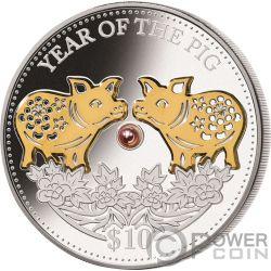 PIG Schwein Rosa Süßwasserperle Chinese Lunar Year 1 Oz Silber Münze 10$ Fiji 2019
