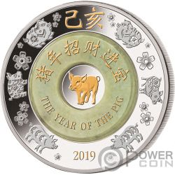 PIG Jade Lunar Year 2 Oz Silver Coin 2000 Kip Laos 2019