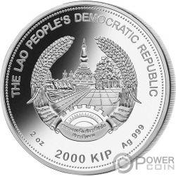 PIG Cerdo Giada Jade Lunar Year 2 Oz Moneda Plata 2000 Kip Laos 2019