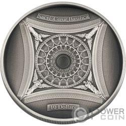 SACRE COEUR BASILICA Sacred Heart 4 Layer Серебро Монета 10$ Соломонские Острова 2018