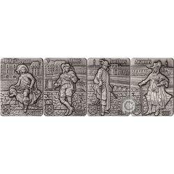 THREE MUSKETEERS Set 4x1 Oz Серебро Монеты 250 Франков Джибути 2018