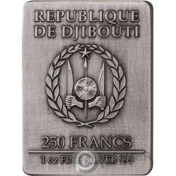 THREE MUSKETEERS Tres Mosqueteros Set 4x1 Oz Moneda Plata 250 Francos Djibouti 2018