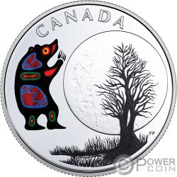 BEAR MOON Teachings From Grandmother Silver Coin 3$ Canada 2018