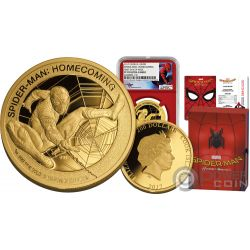SPIDERMAN Hombre Arana Homecoming Marvel Mercanti Stan Lee 1 Oz Moneda Oro 200$ Cook Islands 2017