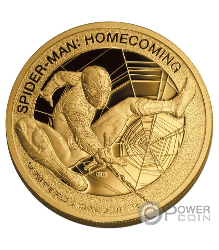Spiderman Homecoming Marvel Mercanti Stan Lee 1 Oz Gold M 252 Nze 200 Cook Islands 2017 Power Coin