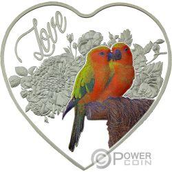 LOVE BIRDS Heart-Shaped Серебро Монета 1$ Токелау 2018