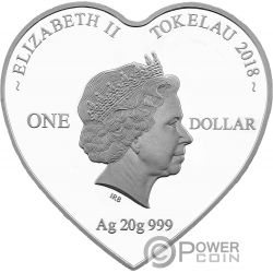 LOVE BIRDS Heart-Shaped Silver Coin 1$ Tokelau 2018