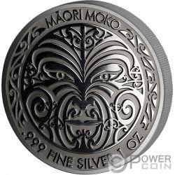 MAORI MOKKO Art Ruthenium 1 Oz Серебро Монета 5$ Токелау 2017