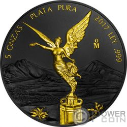 LIBERTAD Liberta Ruthenium Gilded 5 Oz Moneta Argento Mexico 2017