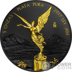 LIBERTAD Liberty Ruthenium Gilded 5 Oz Silver Coin Mexico 2017