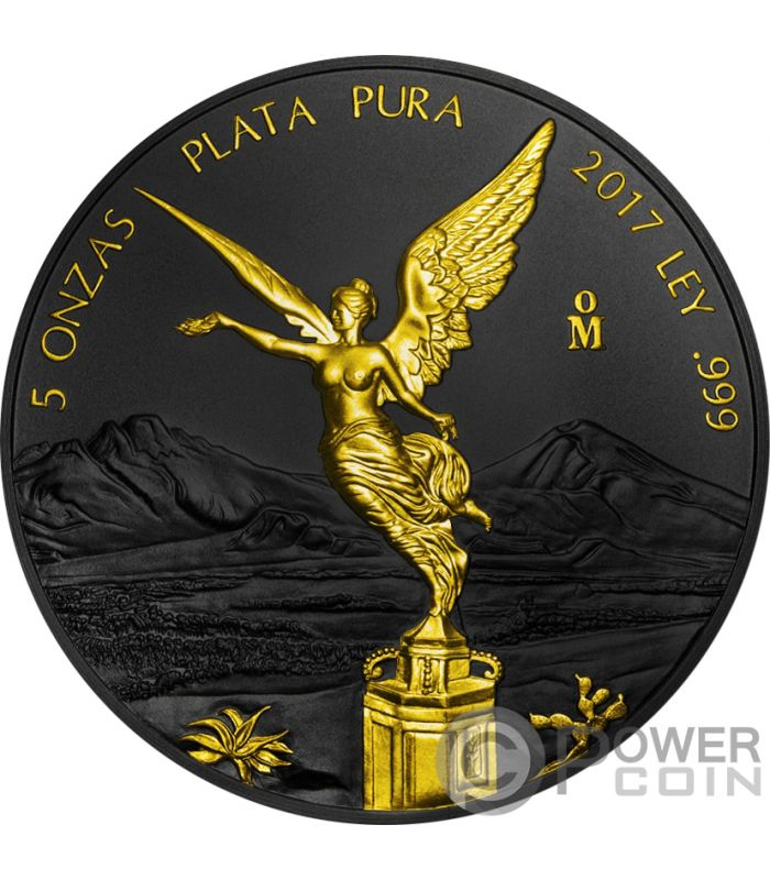 Libertad Ruthenium Gilded 5 Oz Moneda Plata Mexico 2017