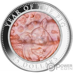 PIG Maiale Madreperla Lunar Year Series 5 Oz Moneta Argento 25$ Cook Islands 2019
