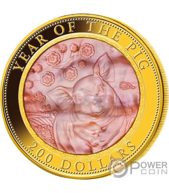 PIG Mother of Pearl Lunar Year Series 5 Oz Gold Coin 200$ Cook Islands 2019