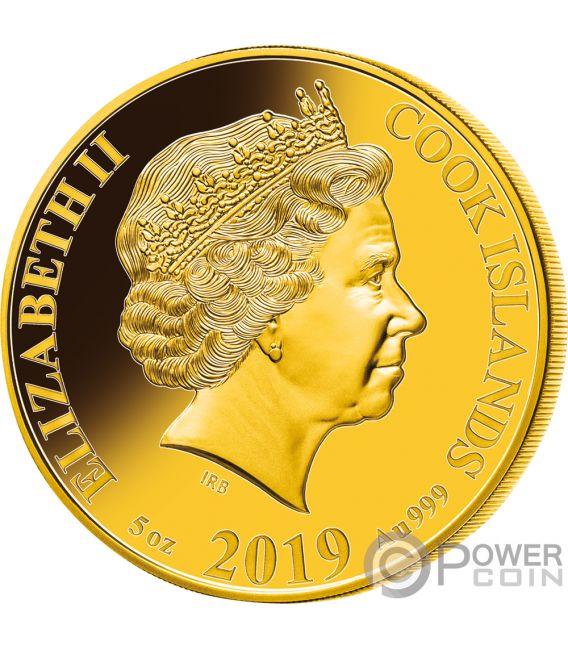 PIG Cerdo Nacar Lunar Year Series 5 Oz Moneda Oro 200$ Cook Islands 2019