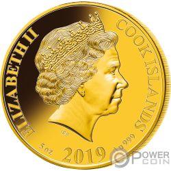 PIG Schwein Perlmutt Lunar Year Series 5 Oz Gold Münze 200$ Cook Islands 2019